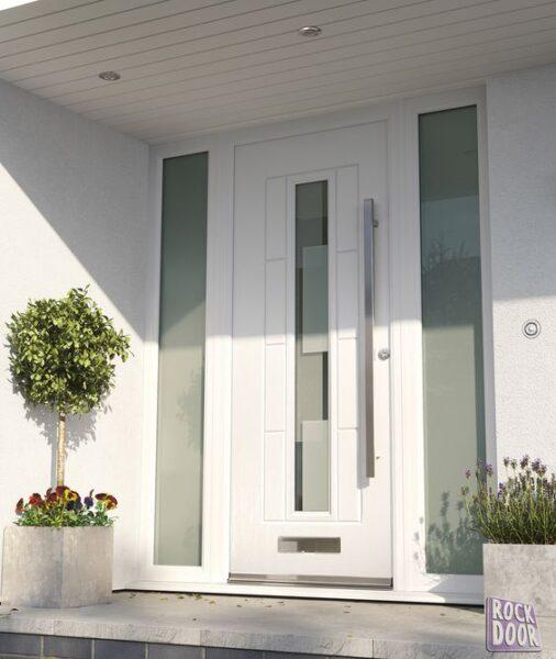 puerta de entrada de aluminio blanca moderna