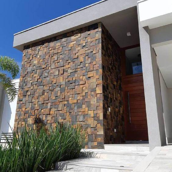 revestimineto con piedras lajas rectangulares