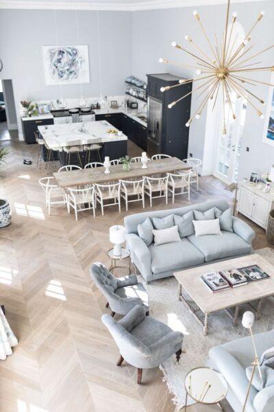 sala de estar cocina y comedor juntos en casa grande