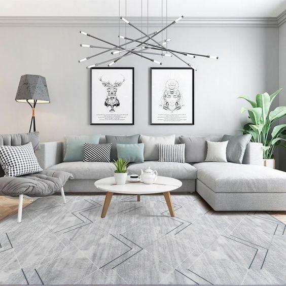 sala de estar con alfombra gris elegante