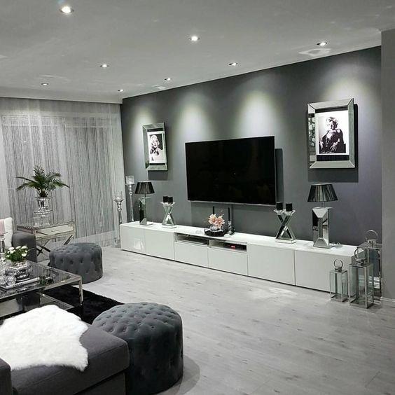 sala de estar elegante gris y blanca