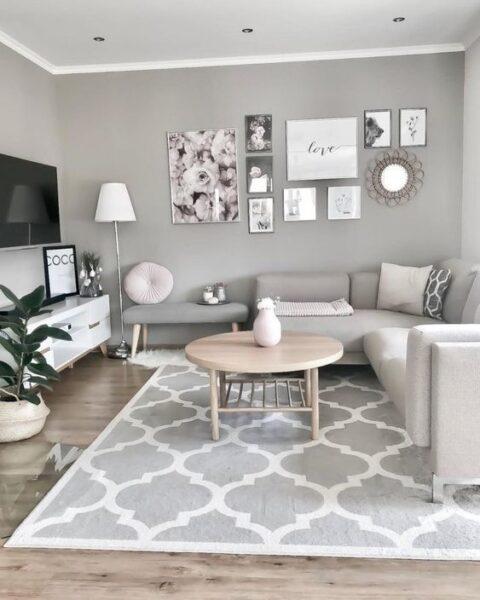sala de estar gris y blanca