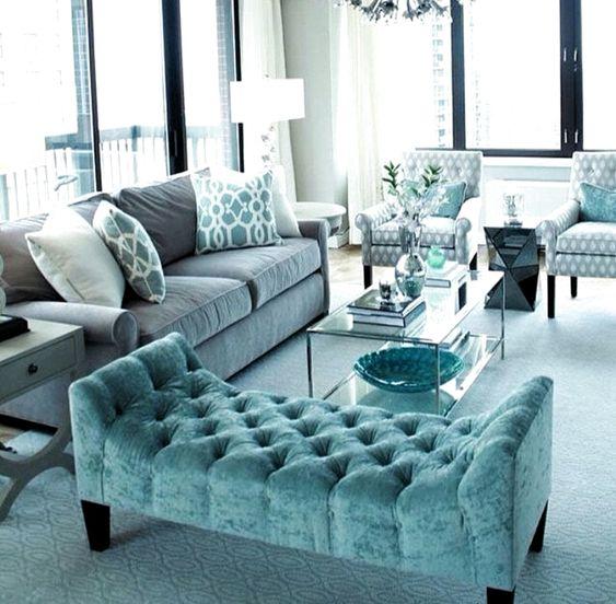 sala de estar gris y turquesa elegante