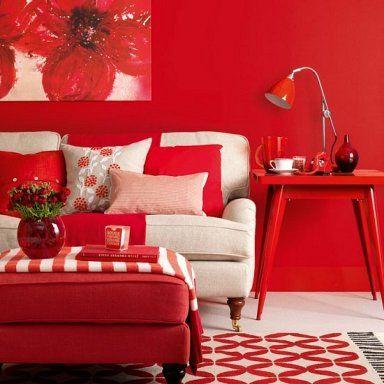 sala de estar retro de color rojo