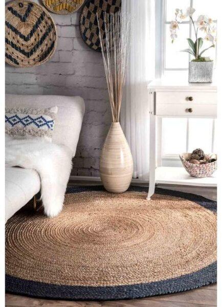 sala de estar rustica moderna con alfombra redonda