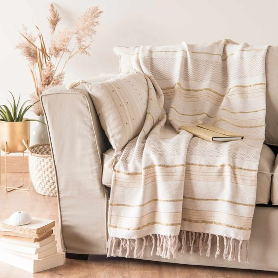 Mantas de algodon o lino para sofa 1