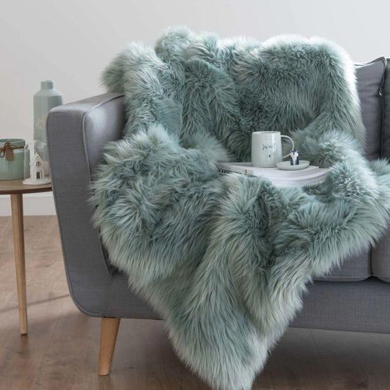 Mantas de pelo sitnetico para sofa