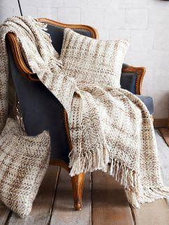 Mantas para sillon tejido rustico