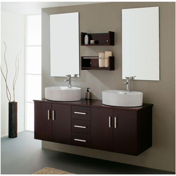Mueble doble lavado baño madera de wengué