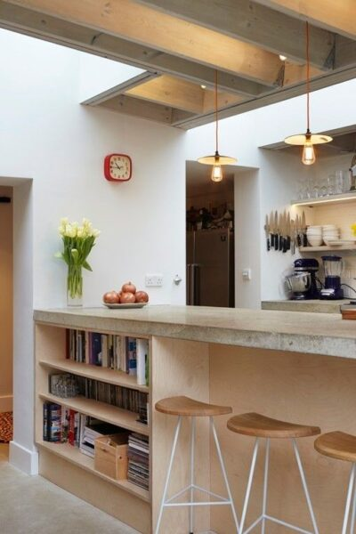 barra desayunadora con mesada de cemento alisado