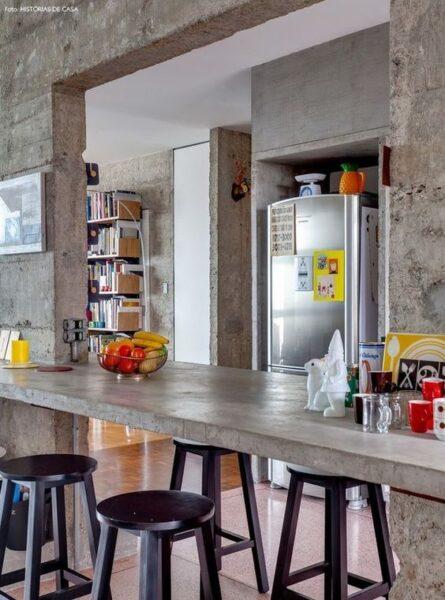 barra desayunadora de concreto