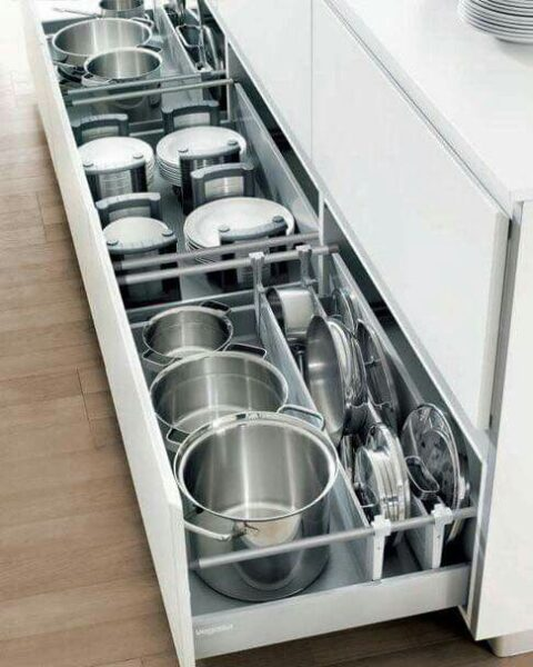 cajones de cocina para organizar ollas y vajillas