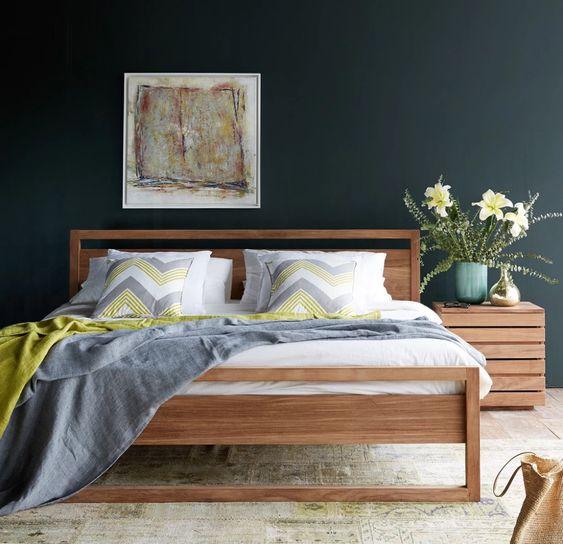 cama de madera estilo retro