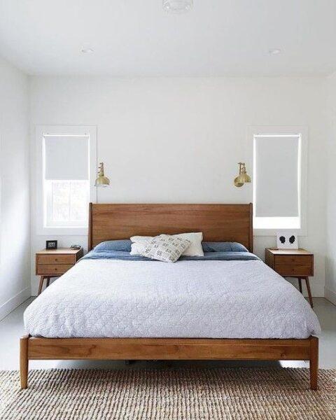 cama de madera retro moderna