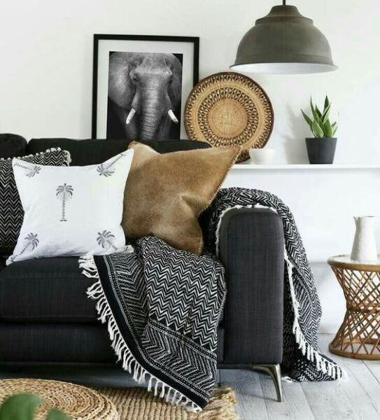 mantas tejido rustico living moderno
