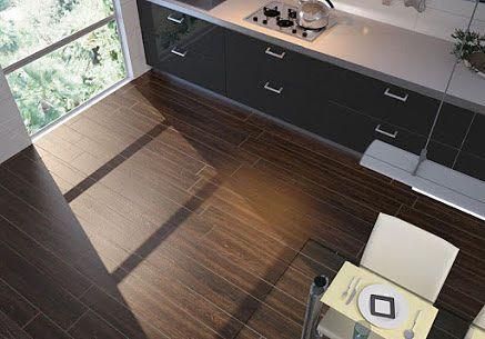 piso cocina simil madera de wengué