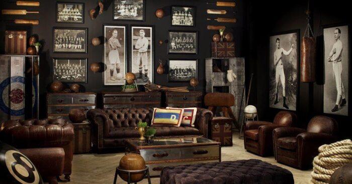 sala de estar con sillones de cuero estilo steampunk