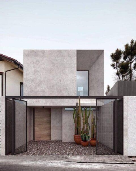 Casa pequena de dos plantas fachada minimalista