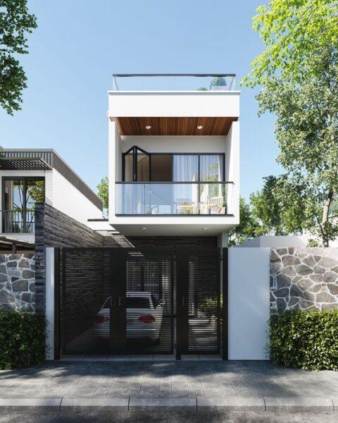 casa de dos planta pequena con fachada minimalista