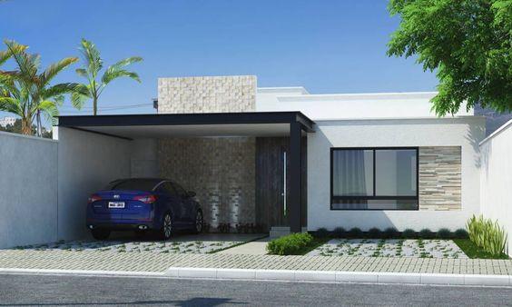 fachada de casa moderna con garage doble