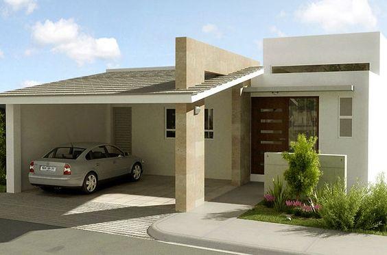 frente de casas pequena con garage doble