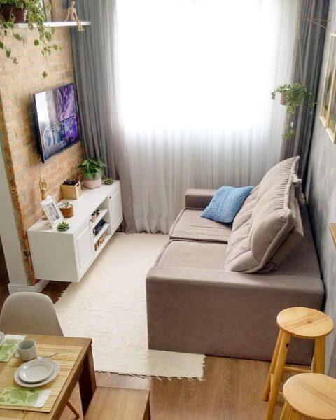 Cortinas de gasa panalera para sala de estar pequena