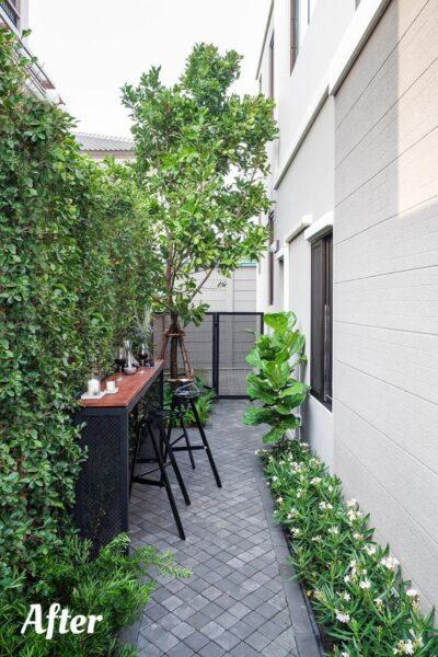 patio con adoquines de cemento