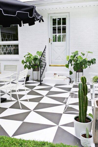 patio con piso de cemento pintado
