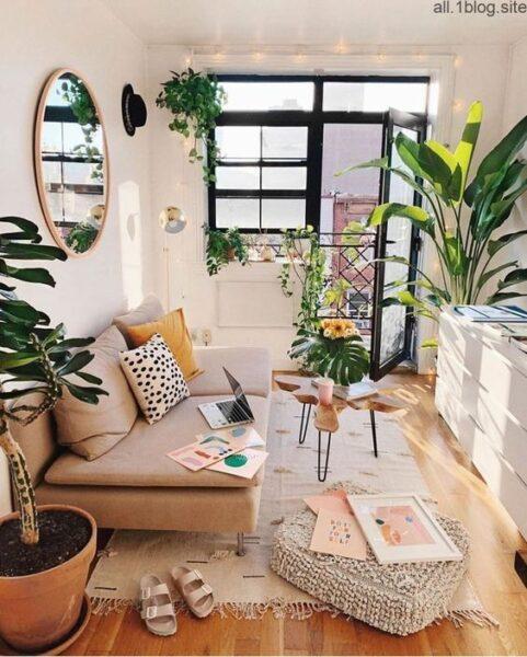 sala de estar pequena con plantas