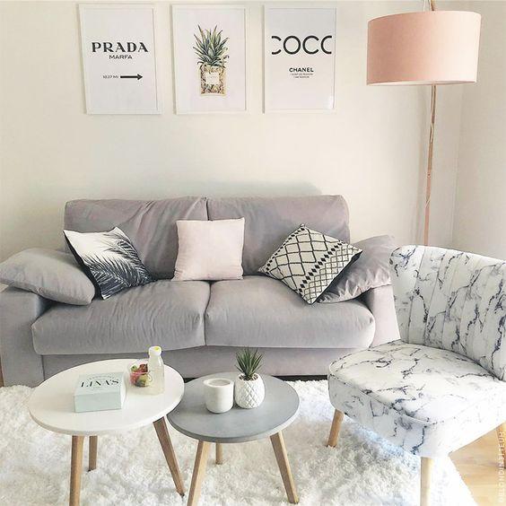sofa gris para sala de estar pequena