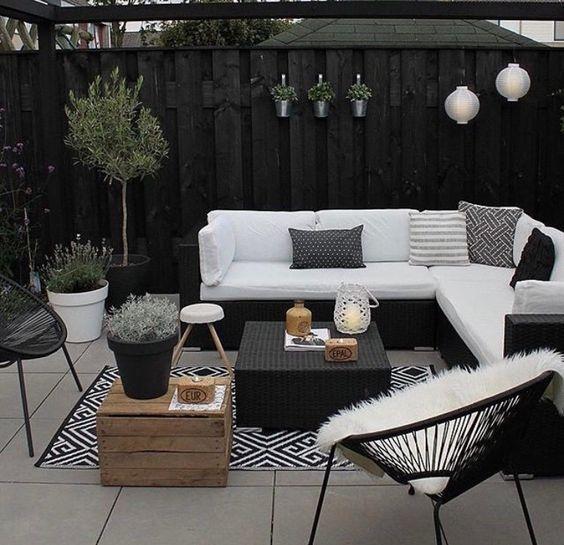 terraza con piso de porcelanato gris